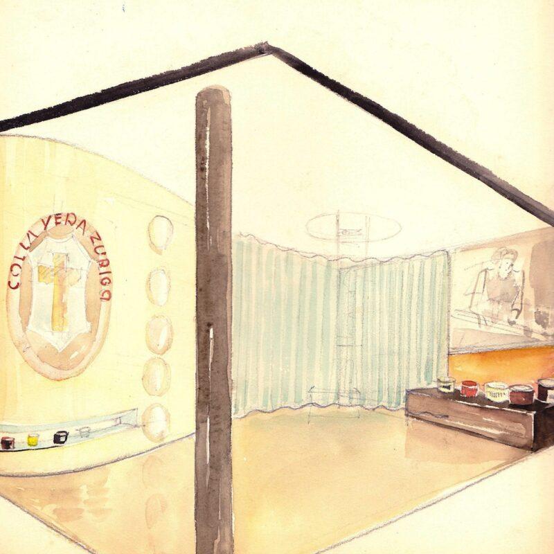 Progetto per uno stand fieristico - matita e acquarello su carta - anni trenta - cm. 24x24