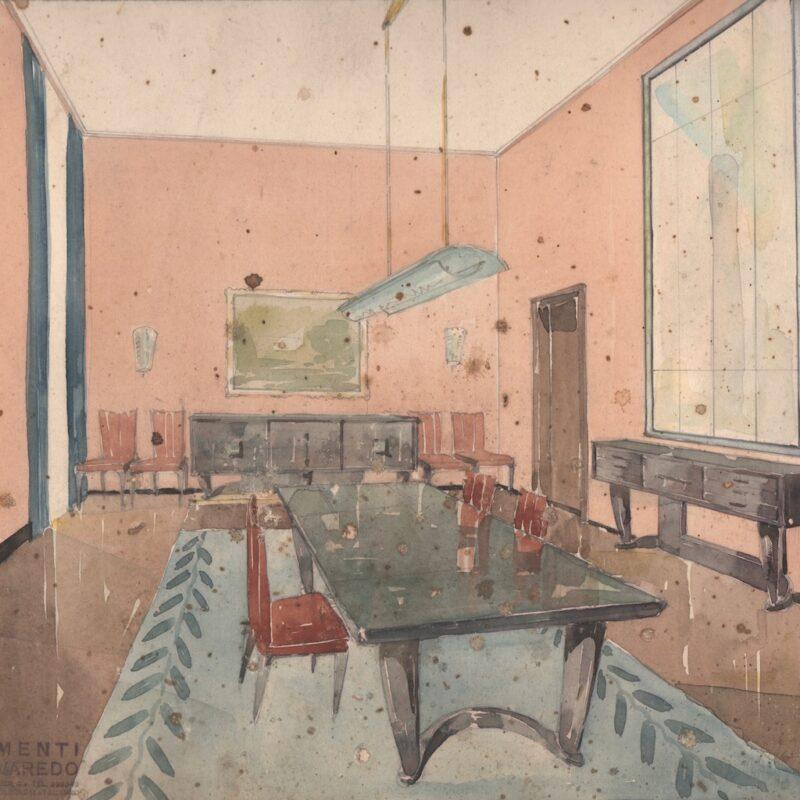 Sala da pranzo e soggiorno - matita e acquarello su carta - primi anni quaranta - cm. 47x30