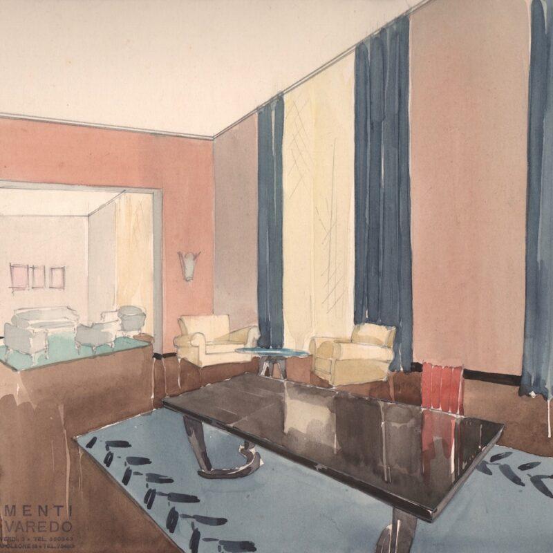 Sala da pranzo - matita e acquarello su carta - primi anni quaranta - cm. 43x30,5