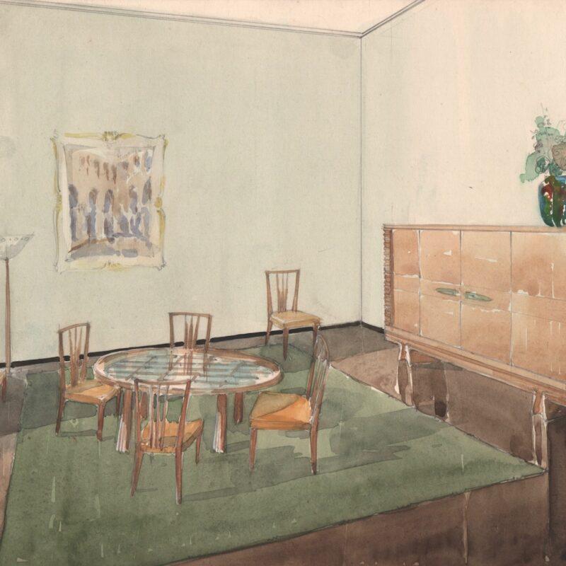 Sala da pranzo - matita e acquarello su carta - primi anni quaranta - cm. 49x31,5