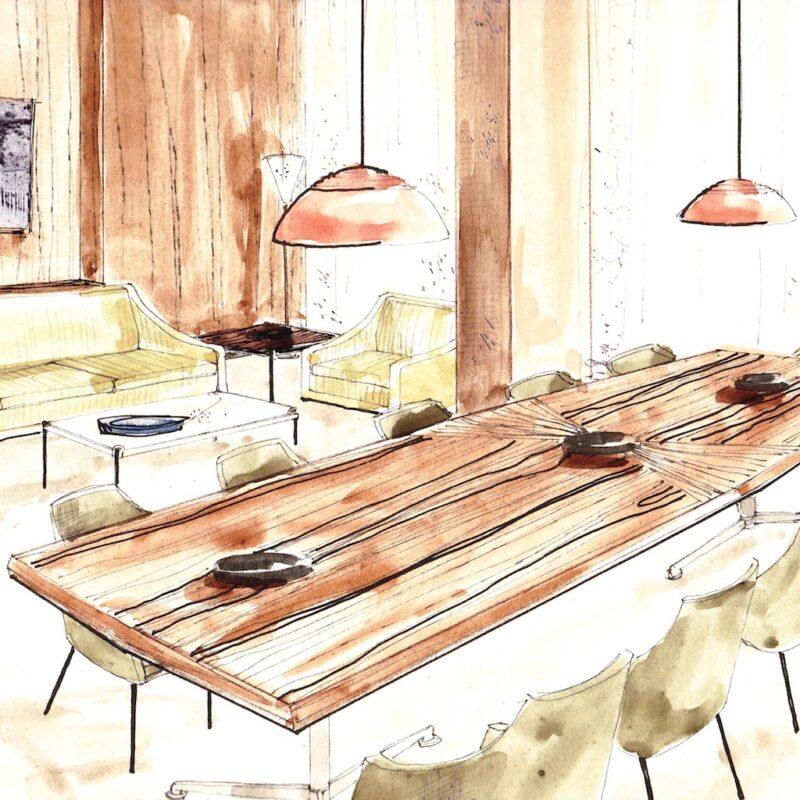 Sala riunioni - penna e acquarello su carta - anni cinquanta - cm. 32,5x24