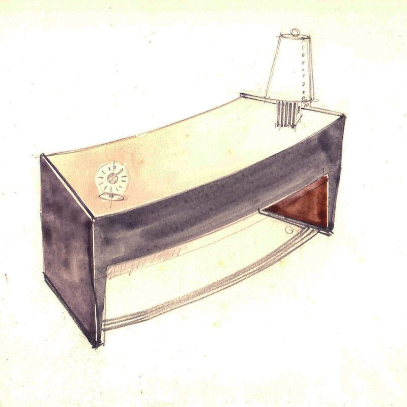 Scrittoio - matita e acquarello su carta - anni trenta - cm. 24x24