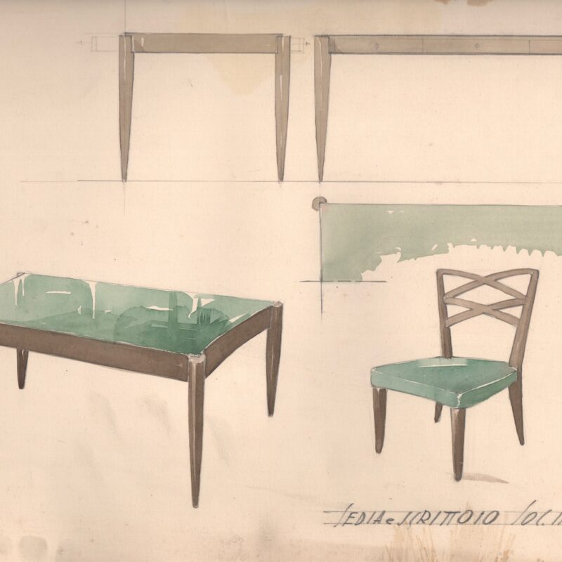 Sedia e scrittoio per la società Pirelli - matita e acquarello su carta - 1938 - cm. 45x30