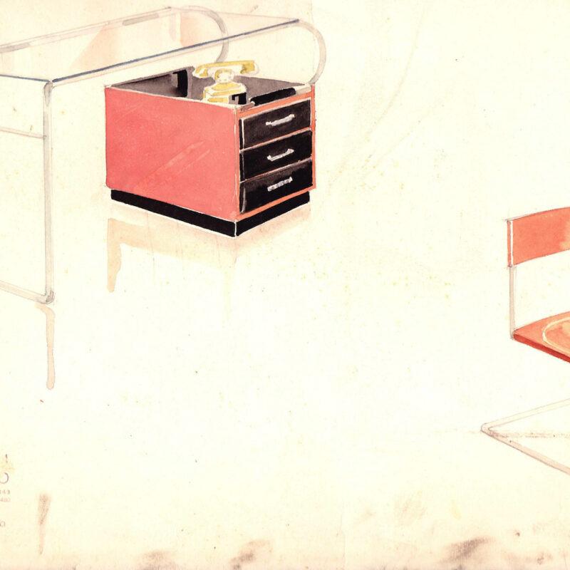 Sedia e scrivania con struttura tubolare - matita e acquarello su carta - fine anni trenta - cm. 36x24