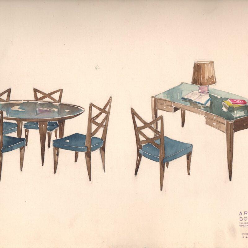 Sedie con tavolo e scrittoio - matita e acquarello su carta - metà anni trenta - cm. 47x30,5