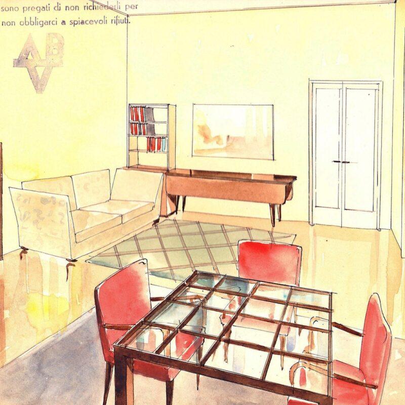Soggiorno - matita e acquarello su carta - anni trenta - cm. 24x24