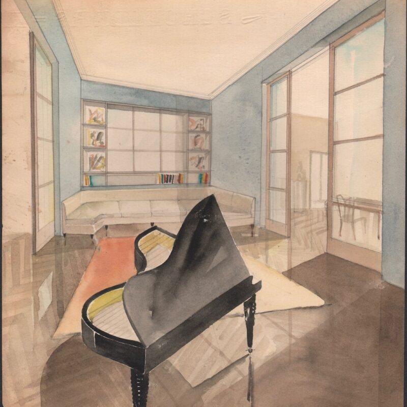 Soggiorno - matita e acquarello su carta - metà anni trenta - cm. 24x24