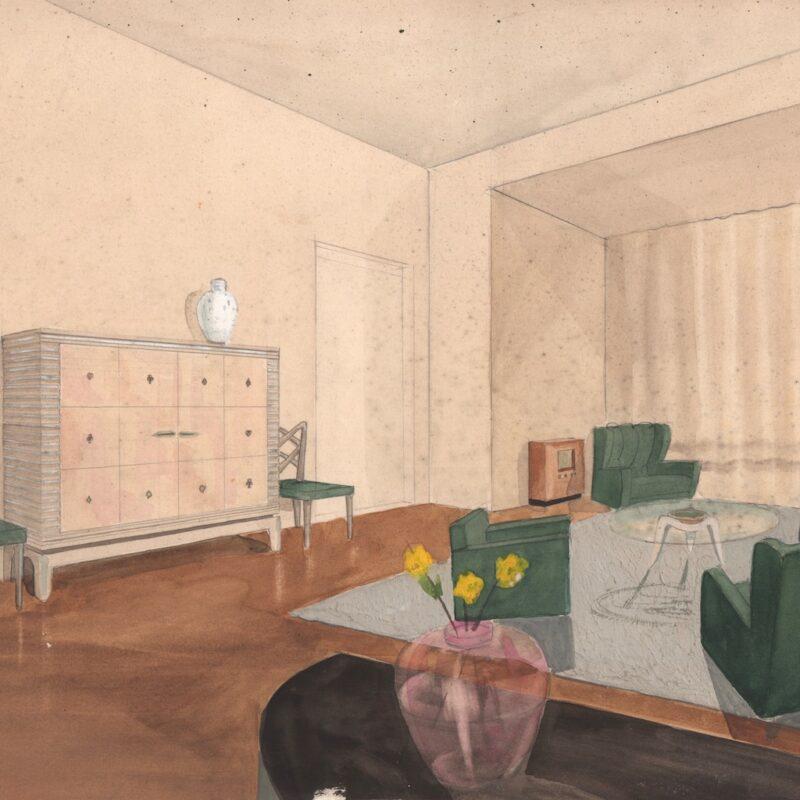 Soggiorno - matita e acquarello su carta - primi anni quaranta - cm. 48x33