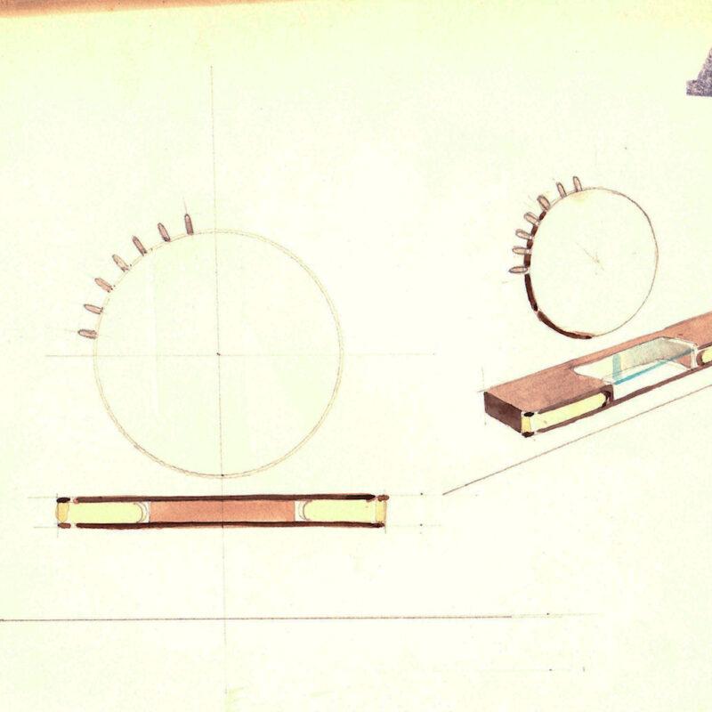 Specchiera con mensola - matita e acquarello su carta - anni trenta - cm. 24x24