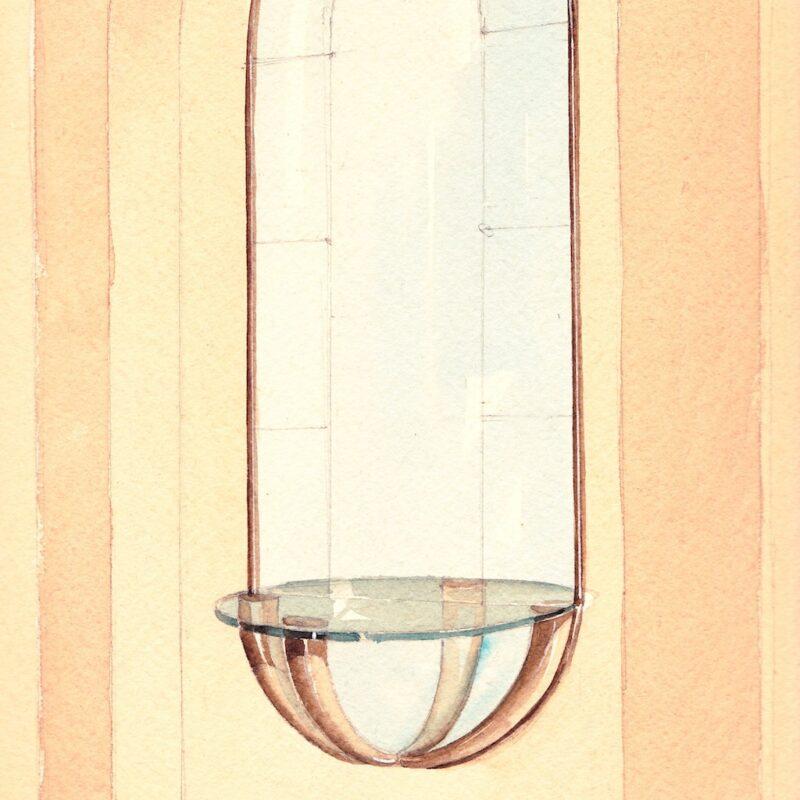 Specchiera con mensola - matita e acquarello su carta - metà anni trenta - cm. 36x24