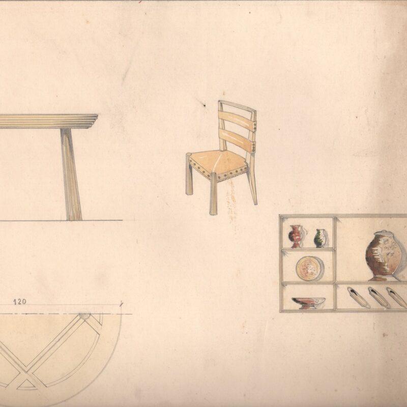 Studio di arredi, tavolo, sedia e scaffale - matita e acquarello su carta - metà anni trenta - cm.47x32