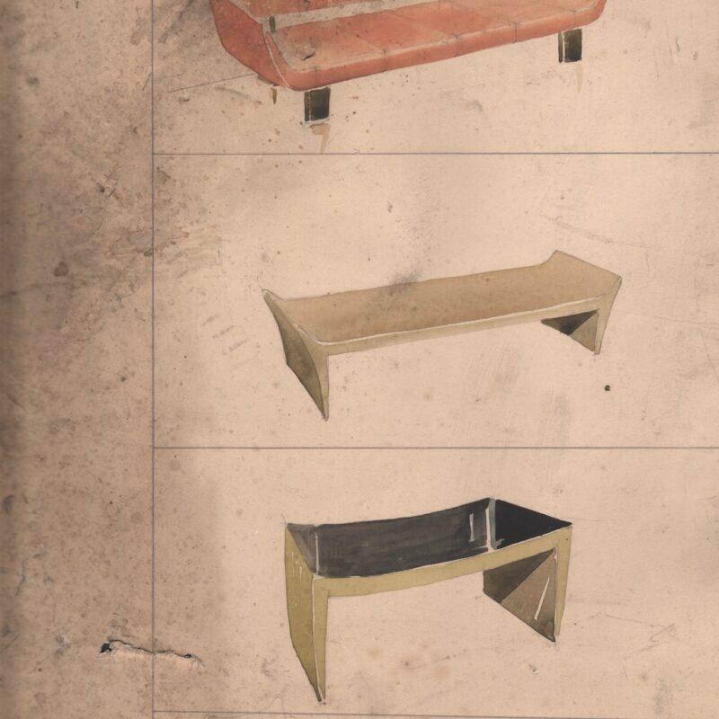 Studio di sedute - matita e acquarello su carta - metà anni trenta - cm. 32x49