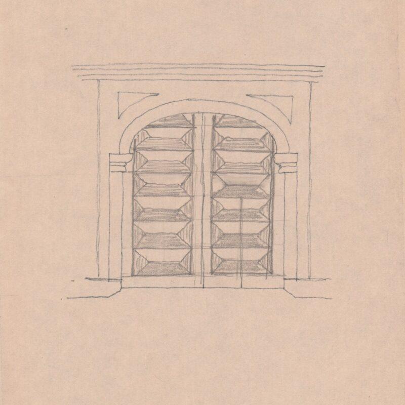 Studio di un portone d'ingresso- matita su carta - cm. 29x22,5