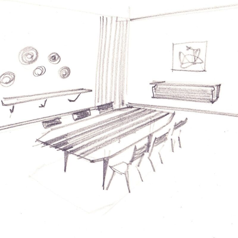 Studio di un tavolo con piano in marmo - matita e acquarello su carta - anni cinquanta - cm. 35x25