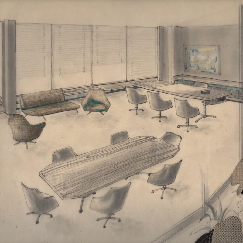 Studio direzionale - tecnica mista e retino su carta da lucido - 1954 - cm. 43x32,5