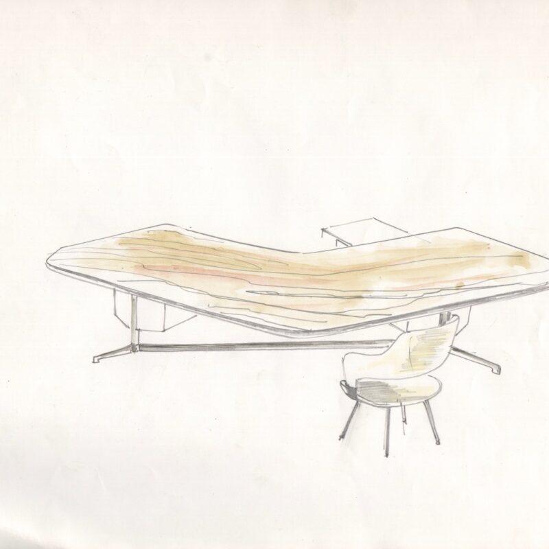 Studio per scrivania T96 - matita su carta - 1956 - cm. 32x25