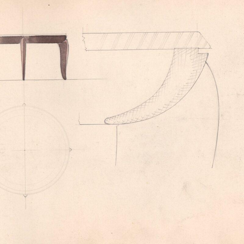 Studio per un tavolo - matita e acquarello su carta - fine anni trenta - cm. 48x31,5