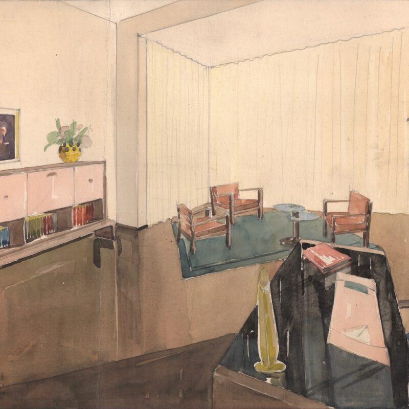 Studio professionale - matita e acquarello su carta - primi anni quaranta - cm. 48x32