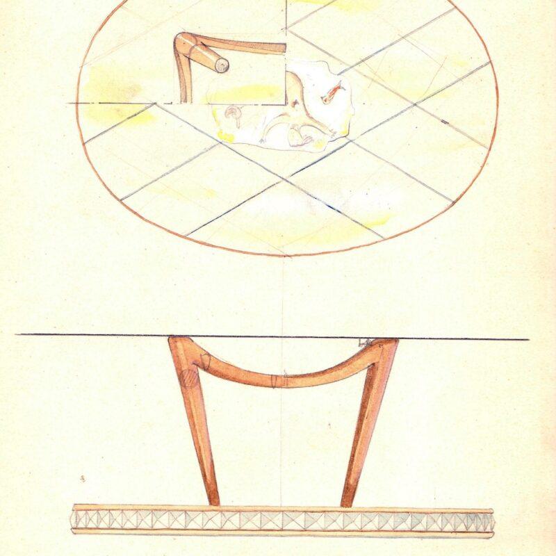 Tavolo con piano decorato - matita e acquarello su carta - anni trenta - cm. 24x29,5