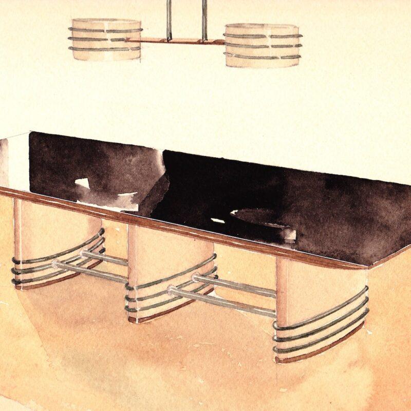 Tavolo con piano in marmo - matita e acquarello su carta - anni trenta - cm. 30x24