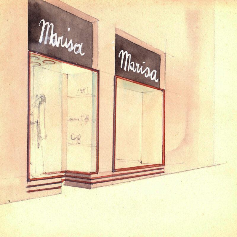Vetrine di un negozio di moda - matita e acquarello su carta - anni trenta - cm. 24x24