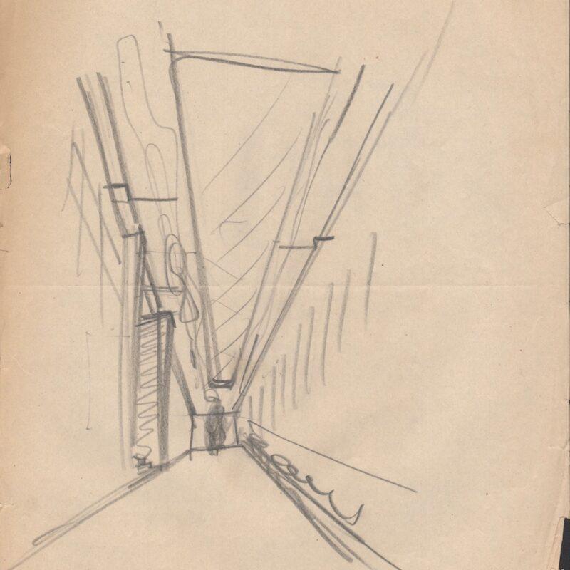 Vista prospettica di un ambiente - anni cinquanta - cm. 29x22,5