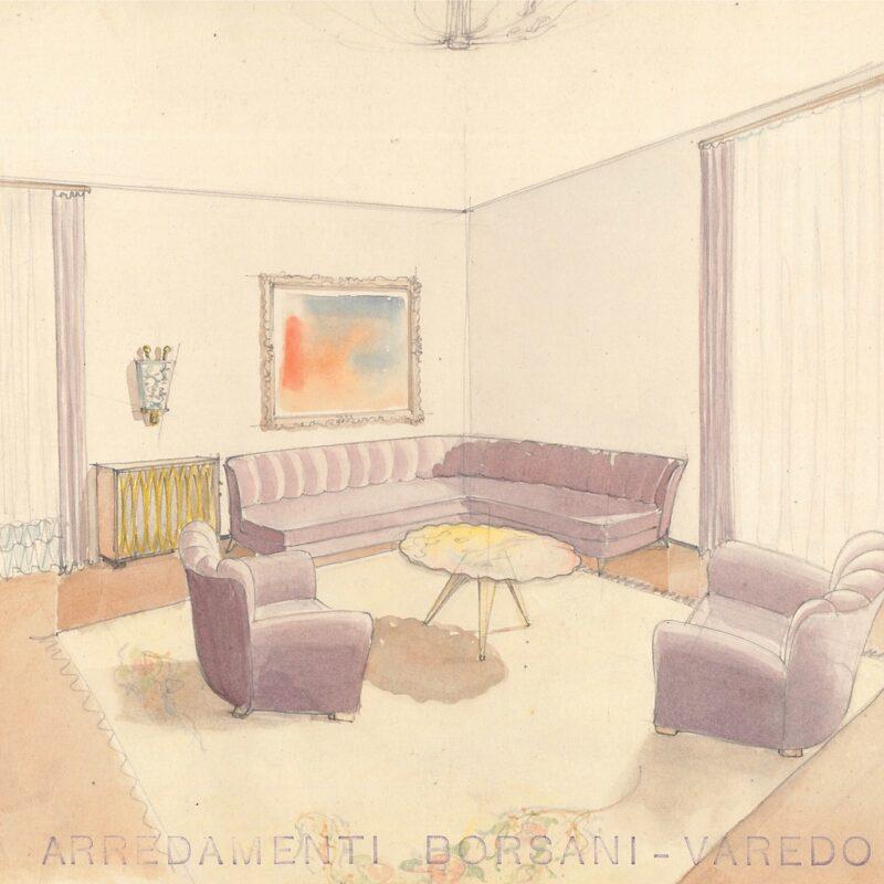 Angolo di soggiorno - matita e acquarello su carta - 1941 - cm. 23x29,5
