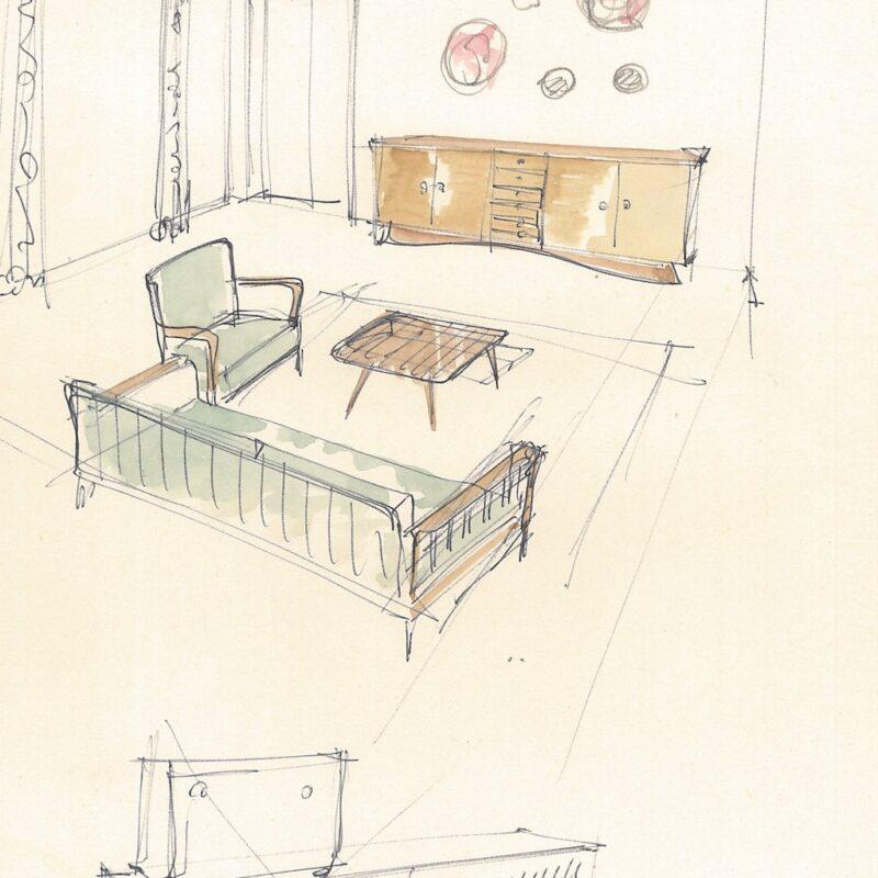 Angolo soggiorno - acquarello e penna su carta - 1949 - cm. 21,5x30,5