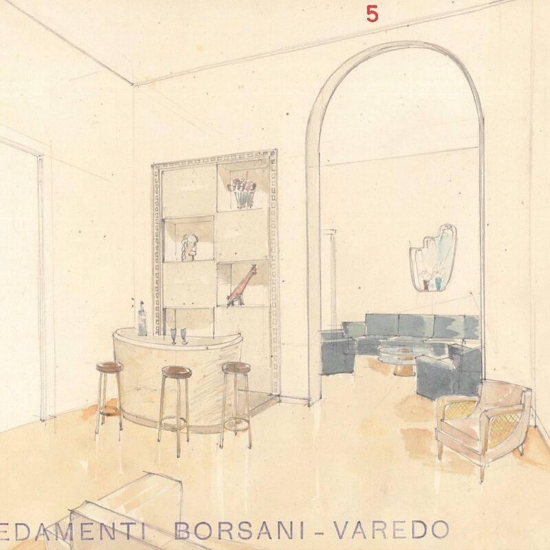 Angolo soggiorno con mobile bar - matita e acquarello su carta - 1954 - cm. 22,5x29,5