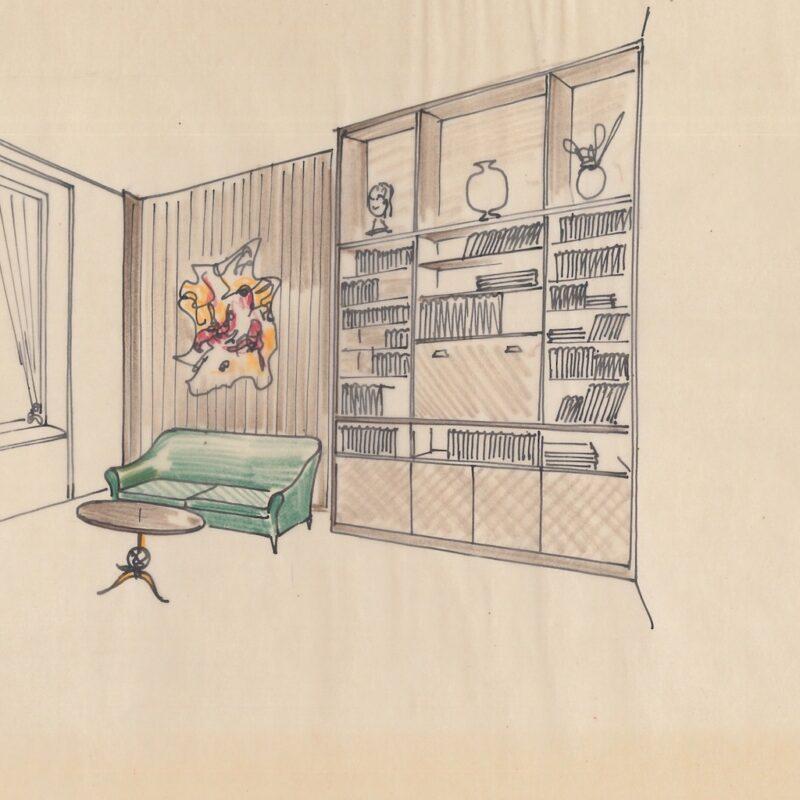 Angolo soggiorno - inchiostro su carta da lucido - 1949 - cm. 23x30