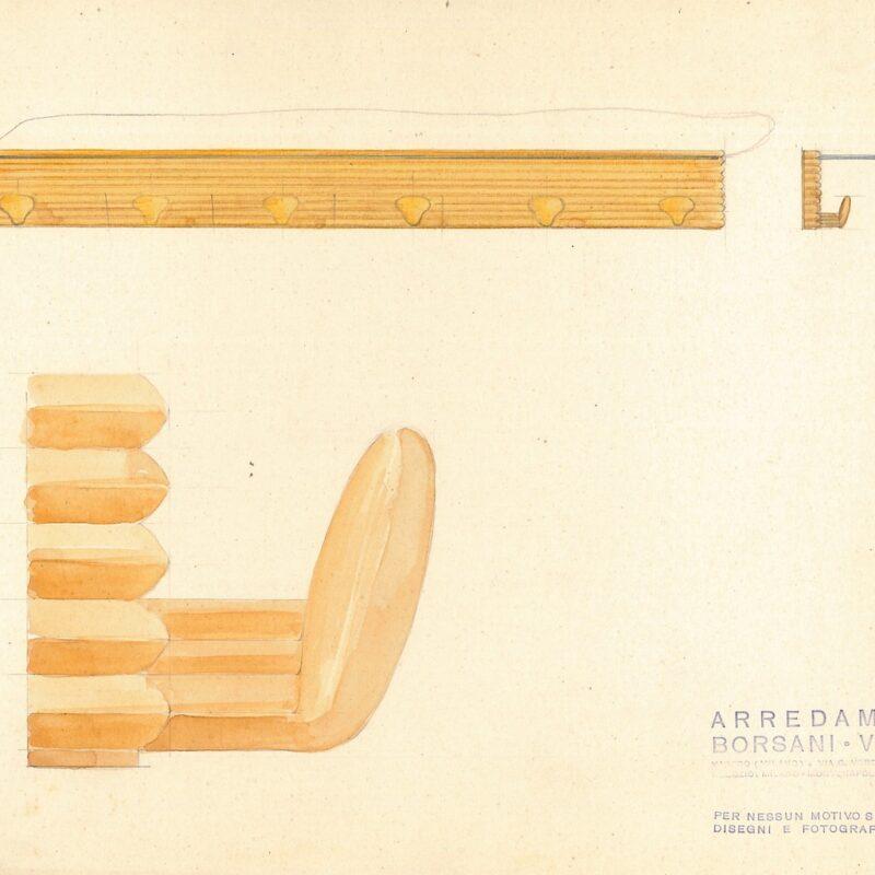 Appendiabiti - matita e acquarello su carta - fine anni quaranta - cm. 31,5x24