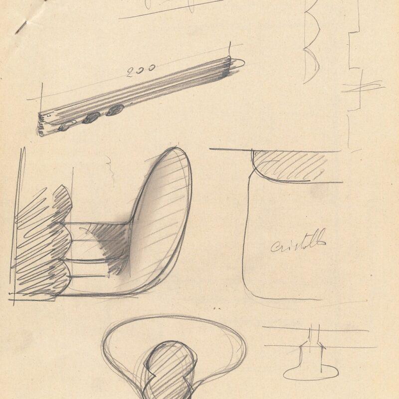 Appendiabiti - matita su carta - fine anni quaranta - cm. 28,5x23