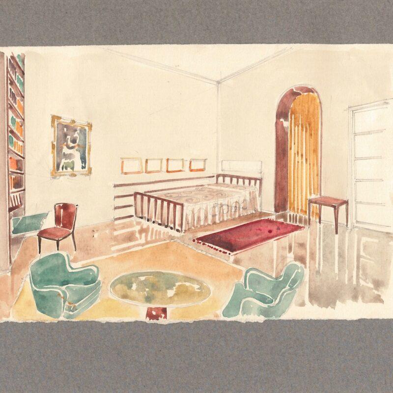 Camera da letto - acquarello su carta - 1942 - cm. 14,5x22,5