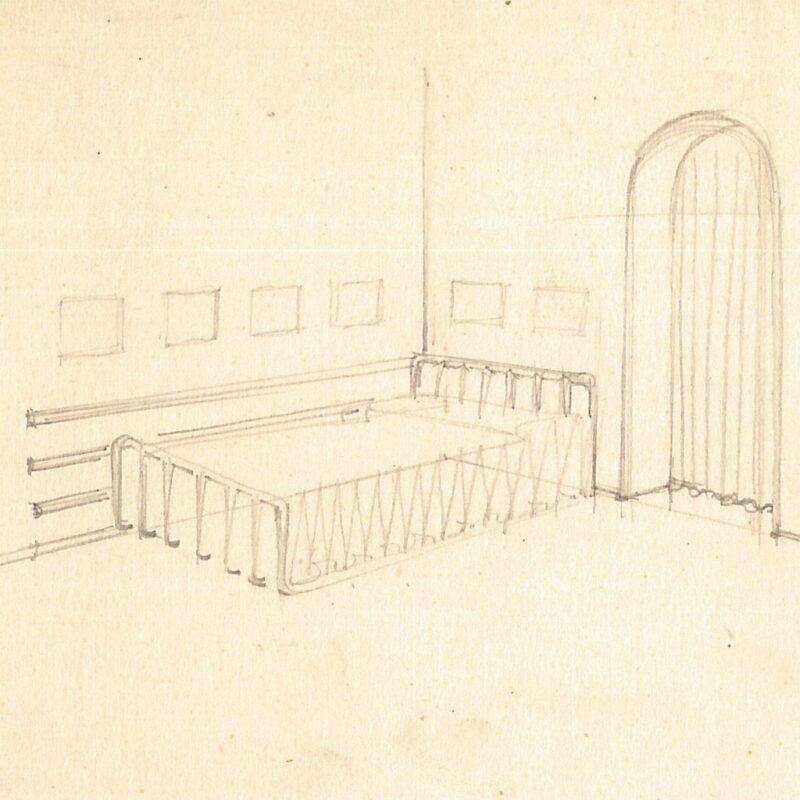 Camera da letto - matita su carta - 1942 - cm. 12,5x17,5