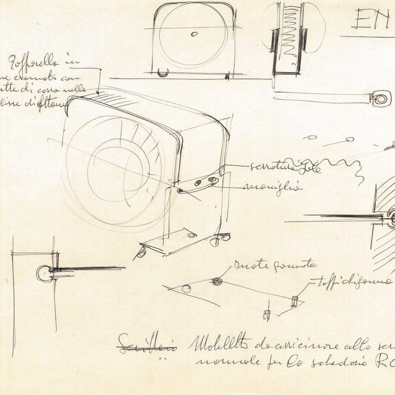 ENI schizzi preparatori, mobile schedario - inchiostro su carta - 1956 - cm. 22,5x29