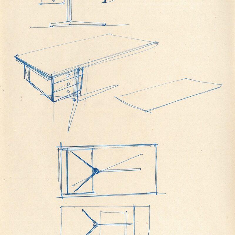 ENI schizzi preparatori, scrivania - inchiostro su carta - 1956 - cm. 22,5x29