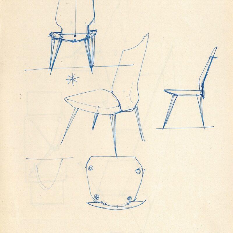 ENI schizzi preparatori, seduta - inchiostro su carta - 1956 - cm. 22,5x29