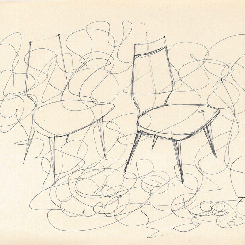 ENI schizzi preparatori, seduta - inchiostro su carta - 1956 - cm.22,5x29