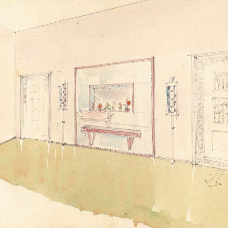 Ingresso con grande specchiera - matita e acquarello su carta - 1949 - cm. 23x29,5