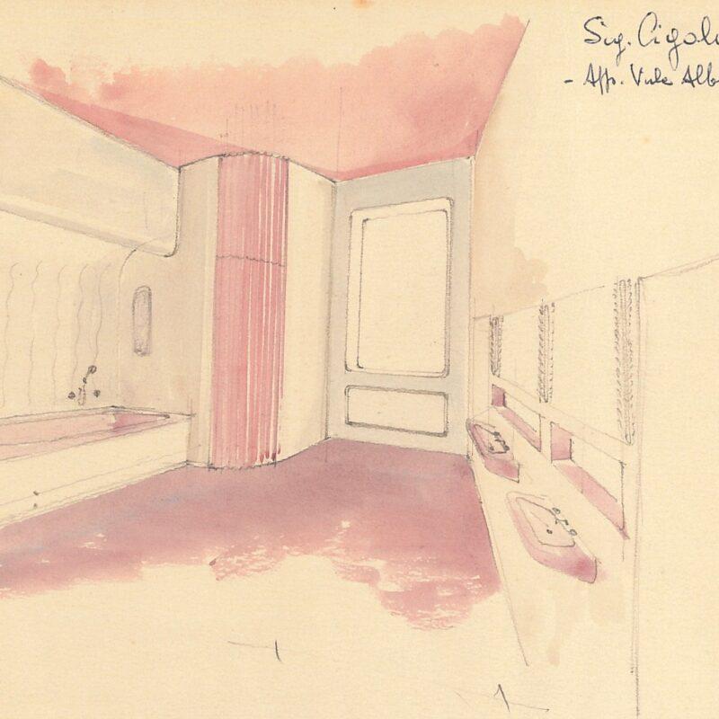 Interno di bagno - acquarello su carta - 1942 - cm. 25x17,5