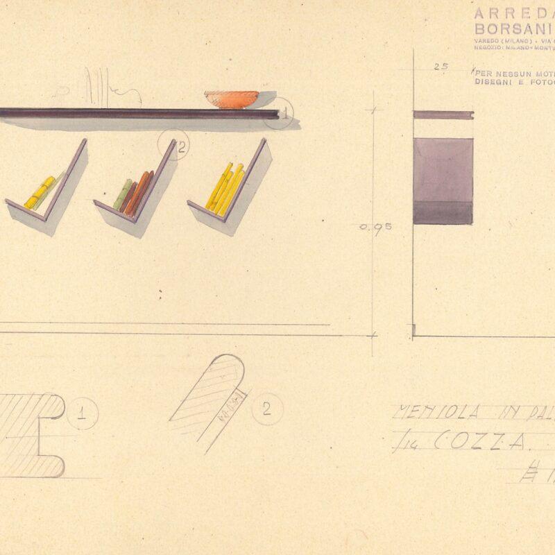 Mensola e portalibri in palissandro - matita e acquarello su carta - 1951 - cm. 31x24