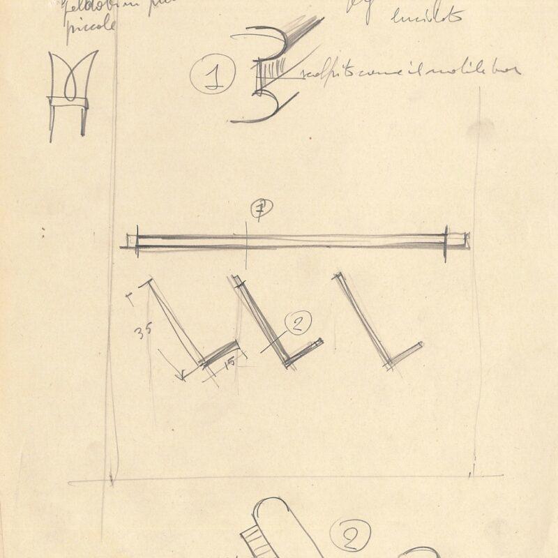 Mensola e portalibri in palissandro - matita su carta - 1951 - cm. 22x28,5