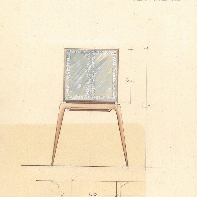 Mobile bar - matita, acquarello e tempera su carta - 1940 - cm.30x23