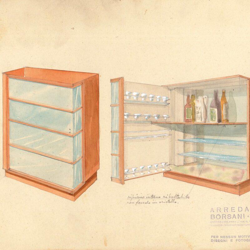Mobile bar - matita e acquarello su carta - 1942 - cm. 31x24