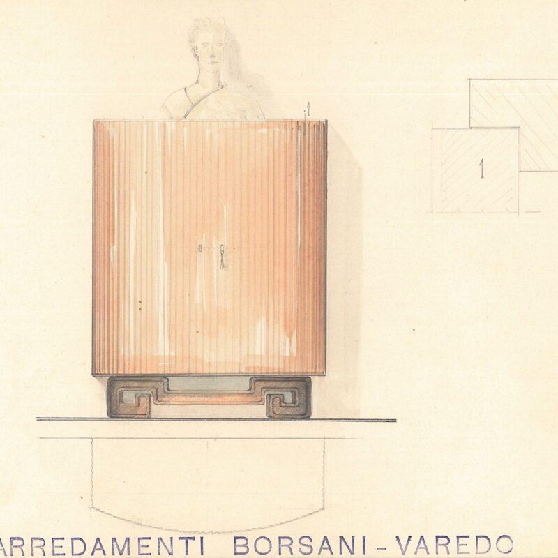 Mobile contenitore con base scolpita - matita e acquarello su carta - 1941 - cm.29,5x23