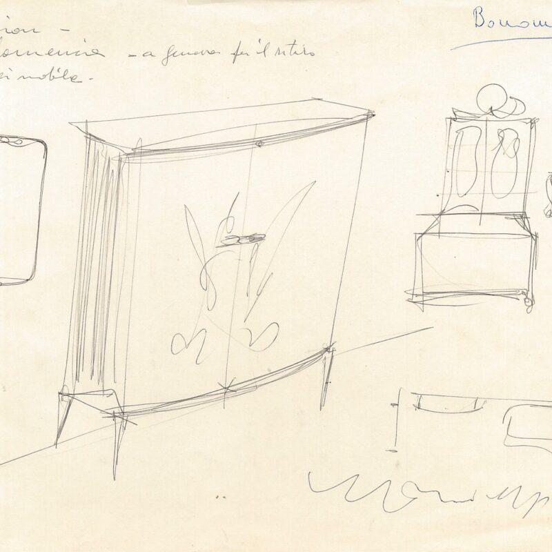 Mobile da ingresso - inchiostro su carta - fine anni '50 - cm. 22,5x29,5