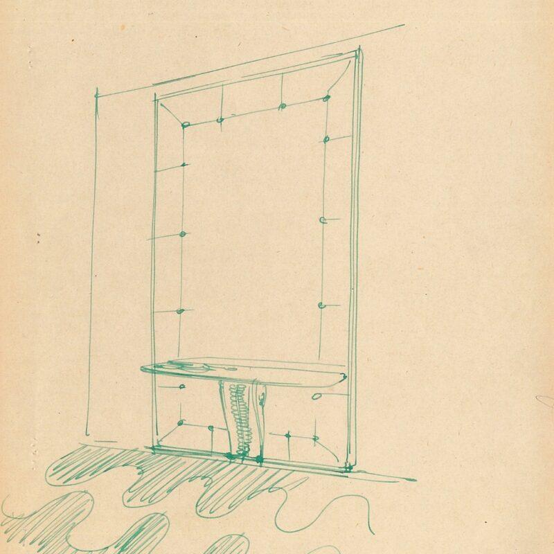 Mobile da ingresso - inchiostro su carta - primi anni '50 - cm. 22,5x28,5
