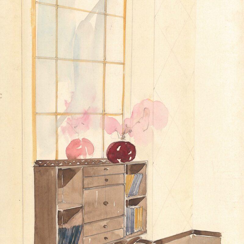 Mobile da ingresso - matita e acquarello su carta - 1942 - cm. 29,5x21