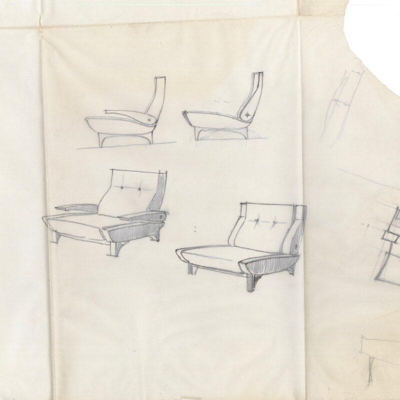 Progetto per zona giorno - acquarello su eliocopia - 1961 - cm. 53x38