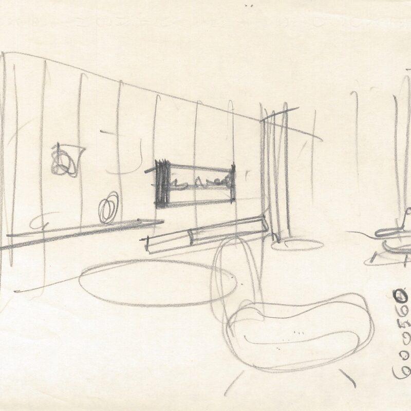 Progetto per zona soggiorno - matita su carta - 1961 - cm. 21x29,5